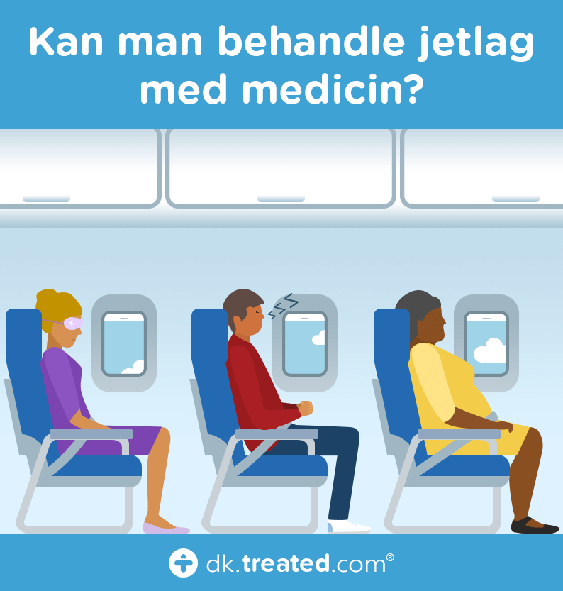 Kan man behandle jetlag med medicin - illustration af tre sovende flypassagerer