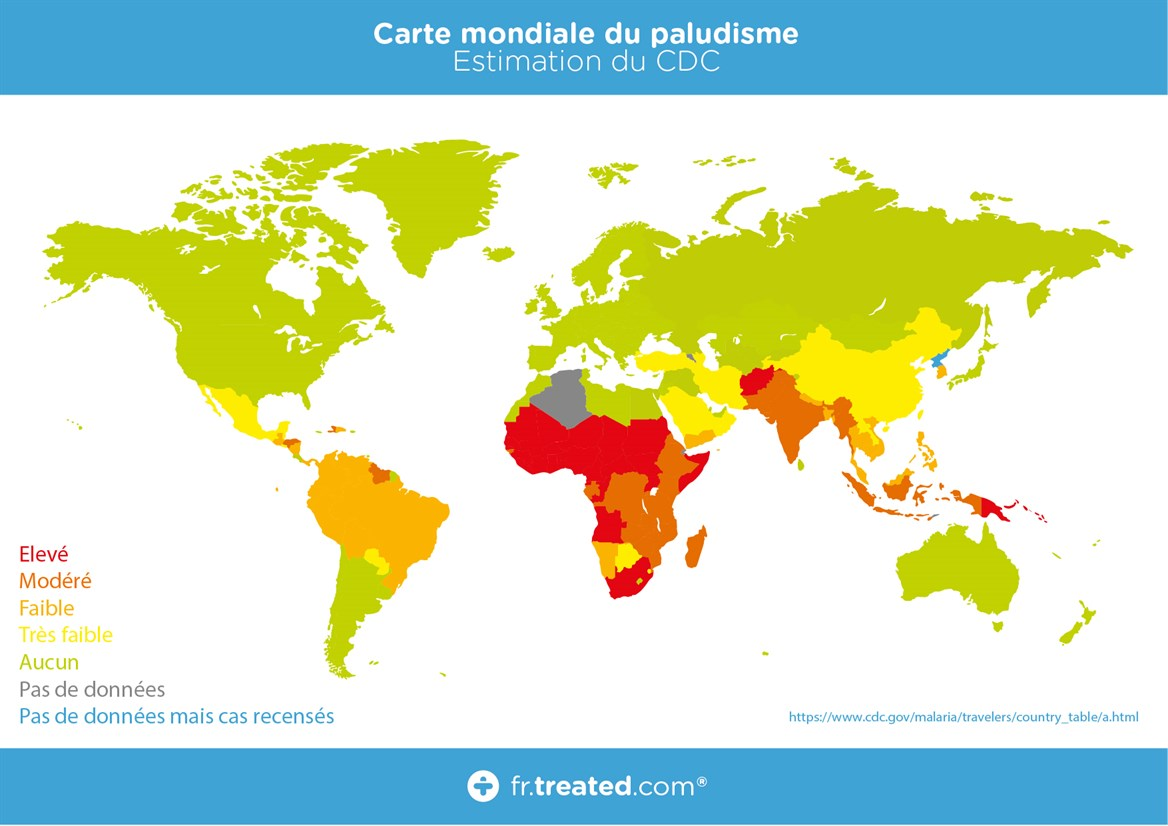 TREATED - Carte mondiale Malaria