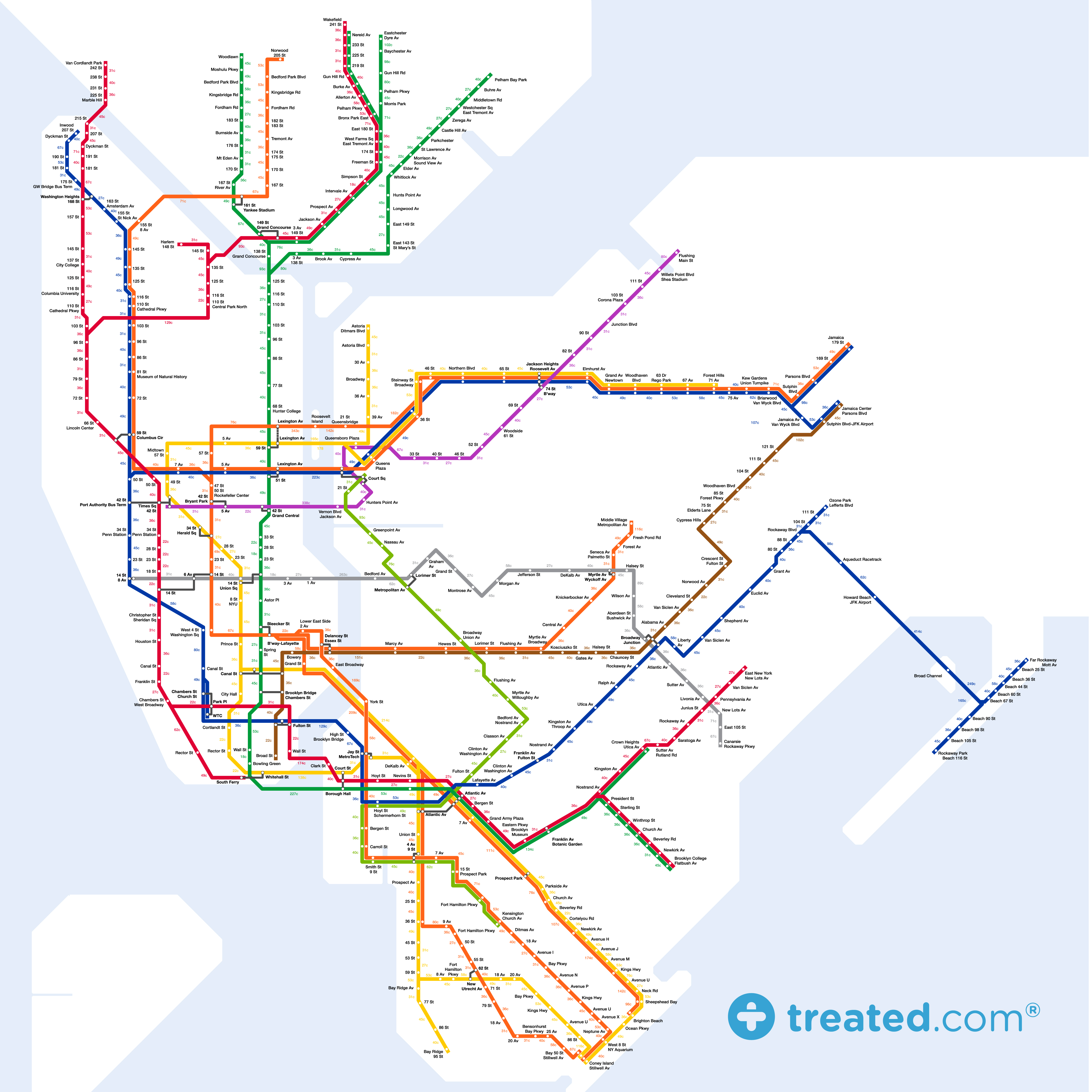 Take The Sidewalk To Work Our New York Subway Map Of Calories