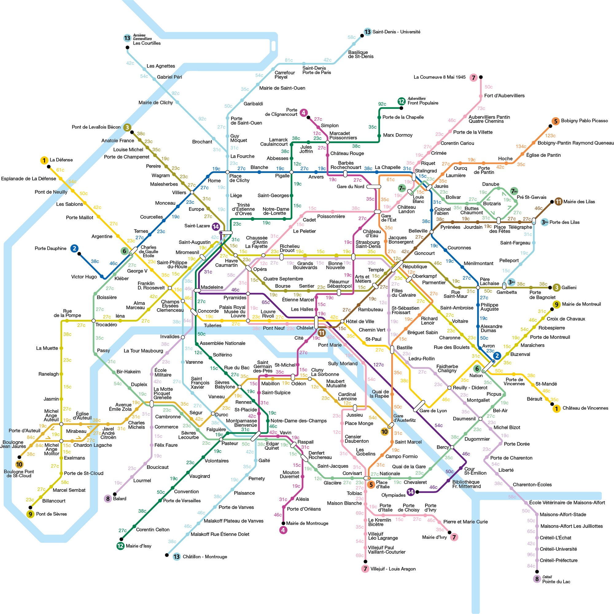 Paris tube map